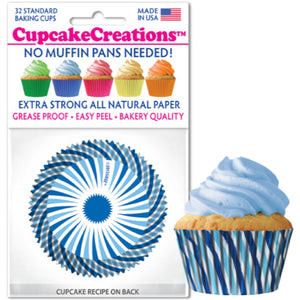 Blue Swirl Cupcake Liner, 32 ct. Cupcake Creations Cupcake Liner - Bake Supply Plus