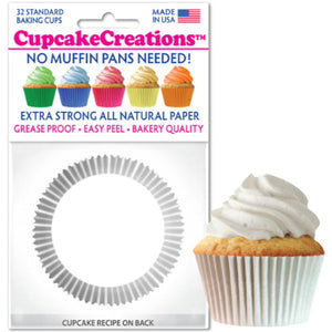 White Cupcake Liner, 32 ct. Cupcake Creations Cupcake Liner - Bake Supply Plus