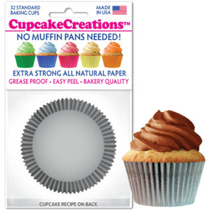Silver Cupcake Liner, 32 ct. Cupcake Creations Cupcake Liner - Bake Supply Plus