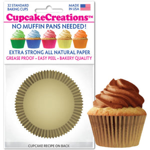 Gold Cupcake Liner, 32 ct. Cupcake Creations Cupcake Liner - Bake Supply Plus