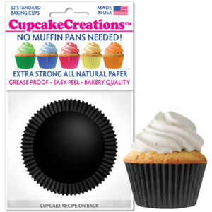 Black Cupcake Liner, 32 ct. Cupcake Creations Cupcake Liner - Bake Supply Plus