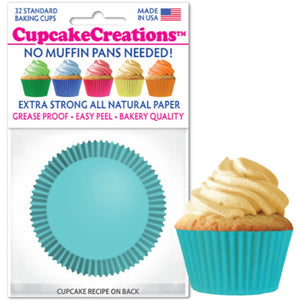 Light Turquoise Cupcake Liner, 32 ct. Cupcake Creations Cupcake Liner - Bake Supply Plus