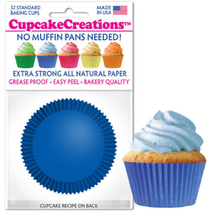 Blue Cupcake Liner, 32 ct. Cupcake Creations Cupcake Liner - Bake Supply Plus