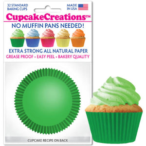 Green Cupcake Liner, 32 ct. Cupcake Creations Cupcake Liner - Bake Supply Plus