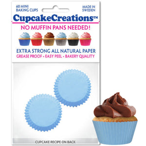 Mini Light Blue Cupcake Liner, 60 ct. Cupcake Creations Cupcake Liner - Bake Supply Plus