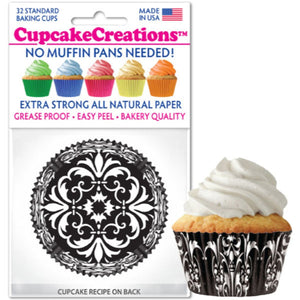 Black Damask Cupcake Liner, 32 ct. Cupcake Creations Cupcake Liner - Bake Supply Plus