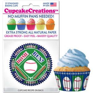 Baseball Cupcake Liner, 32 ct. Cupcake Creations Cupcake Liner - Bake Supply Plus