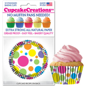 Rainbow Dots Cupcake Liner, 32 ct. Cupcake Creations Cupcake Liner - Bake Supply Plus