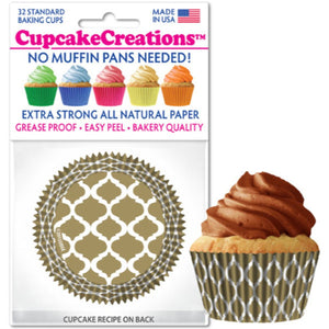 Gold Quaterfoil Cupcake Liner, 32 ct. Cupcake Creations Cupcake Liner - Bake Supply Plus