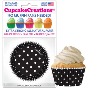 Black & White Polka Dots Cupcake Liner, 32 ct. Cupcake Creations Cupcake Liner - Bake Supply Plus