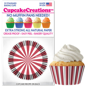 Red Circus Stripes Cupcake Liner, 32 ct. Cupcake Creations Cupcake Liner - Bake Supply Plus