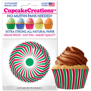 Christmas Swirl Cupcake Liner, 32 ct. Cupcake Creations Cupcake Liner - Bake Supply Plus