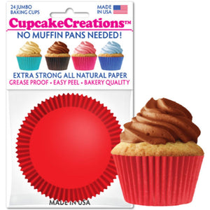 Jumbo Red Cupcake Liner, 24 ct. Cupcake Creations Cupcake Liner - Bake Supply Plus