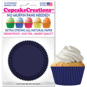 Navy Blue Cupcake Liner, 32 ct. Cupcake Creations Cupcake Liner - Bake Supply Plus