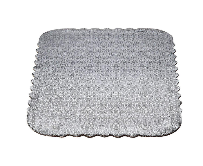 Silver Scalloped Sheet Cake Boards  — All Sizes