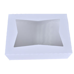 White Window Cake Boxes - 9x4x3.5 Bake Supply Plus Box - Bake Supply Plus