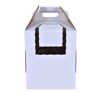 Tiered White Cake Boxes with Handle & Window — All Sizes Whalen Packaging Box - Bake Supply Plus