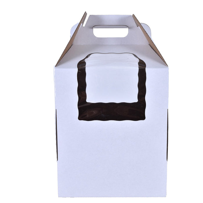Tiered White Cake Boxes with Handle & Window — All Sizes