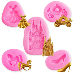 Princess Carriage, Slipper, Castle, Dress, & Horse Silicone Molds NY Cake Silicone Mold - Bake Supply Plus