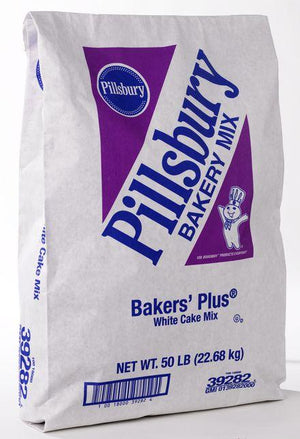 Pillsbury™ Bakers Plus White Cake Mix 50 lb Bag Pillsbury Mix - Bake Supply Plus