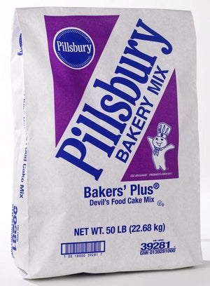 Pillsbury™ Bakers Plus Dark Devil's Food Cake Mix 50 lb Bag Pillsbury Mix - Bake Supply Plus