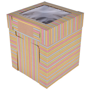 Tiered Striped Kraft Cake Box With Window — All Sizes Whalen Packaging Box - Bake Supply Plus