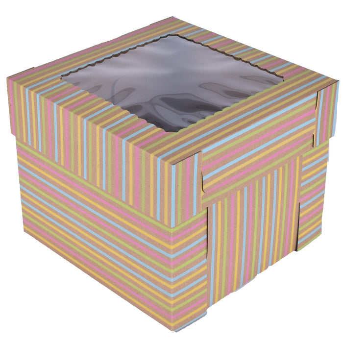 Tiered Striped Kraft Cake Box With Window — All Sizes