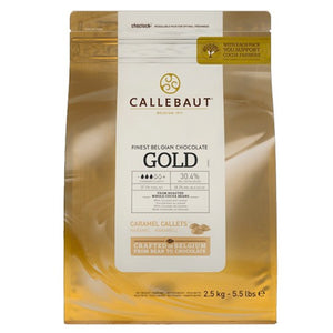 Callebaut Gold White Chocolate With Caramel Taste Callets Callebaut Chocolate Melts - Bake Supply Plus