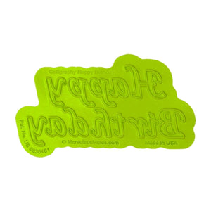 Calligraphy Happy Birthday Flexabet™ Mold Marvelous Molds Silicone Mold - Bake Supply Plus