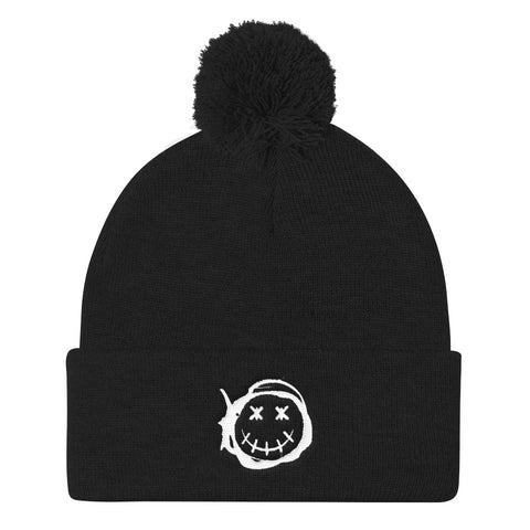 Happy - White | Pom Pom Knit Cap