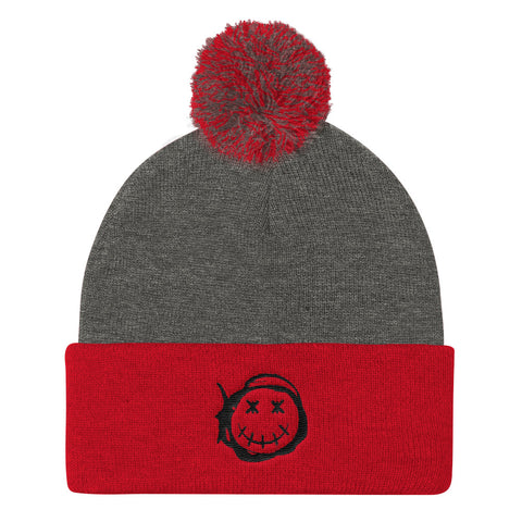 Happy - Black | Pom Pom Knit Cap