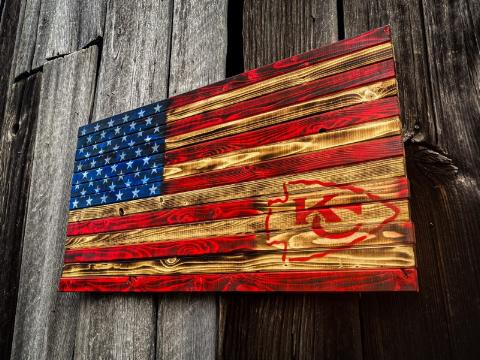 Kansas City Chiefs Distressed American Flag