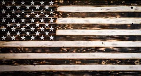 Charred Black and White American Flag