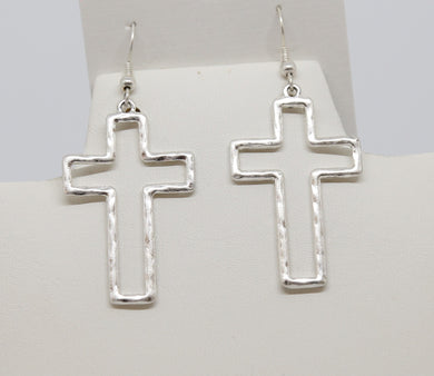 Silver Flat Cross Earrings