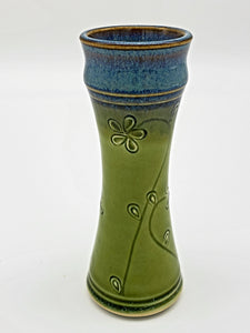 Sm Amphra Bud Vase w/Flowers Green
