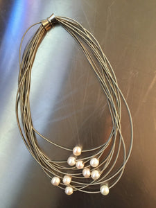 Silver 10 Layer w/Pearls