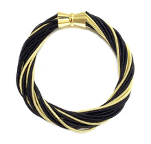 Load image into Gallery viewer, Black/Gold Twist Bracelet