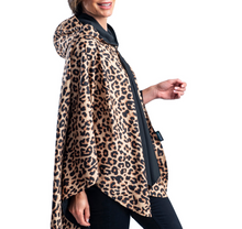 Load image into Gallery viewer, RAINCAPER BLACK & LEOPARD ANIMAL PRINT TRAVEL CAPE