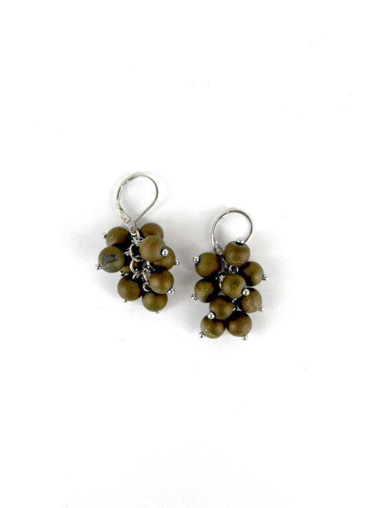 Silver/Brown Grape Cluster Earring