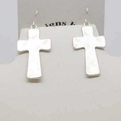 Hammered Silver Cross Earrings