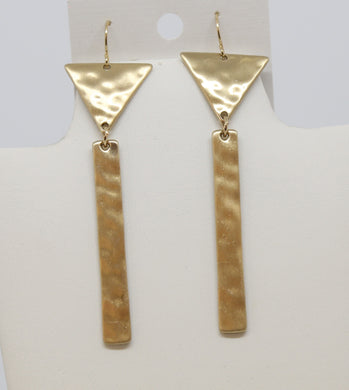 Gold Triangle w/Regtangle Earrings