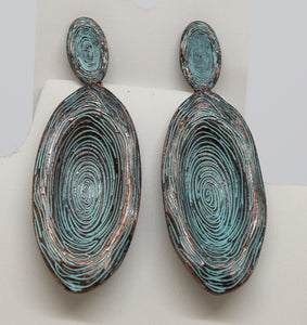 Metal Turquoise Drop Earrings