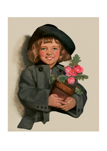 Girl With Pot of Pink Flowers
