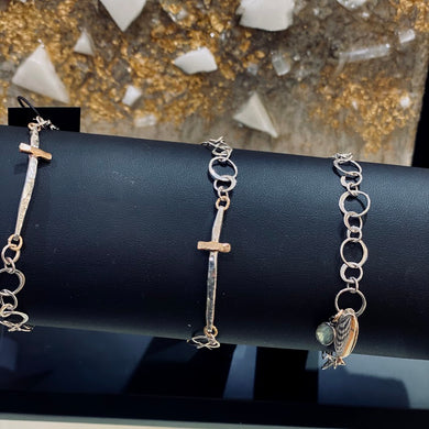 Mixed Metal Cross Bracelet