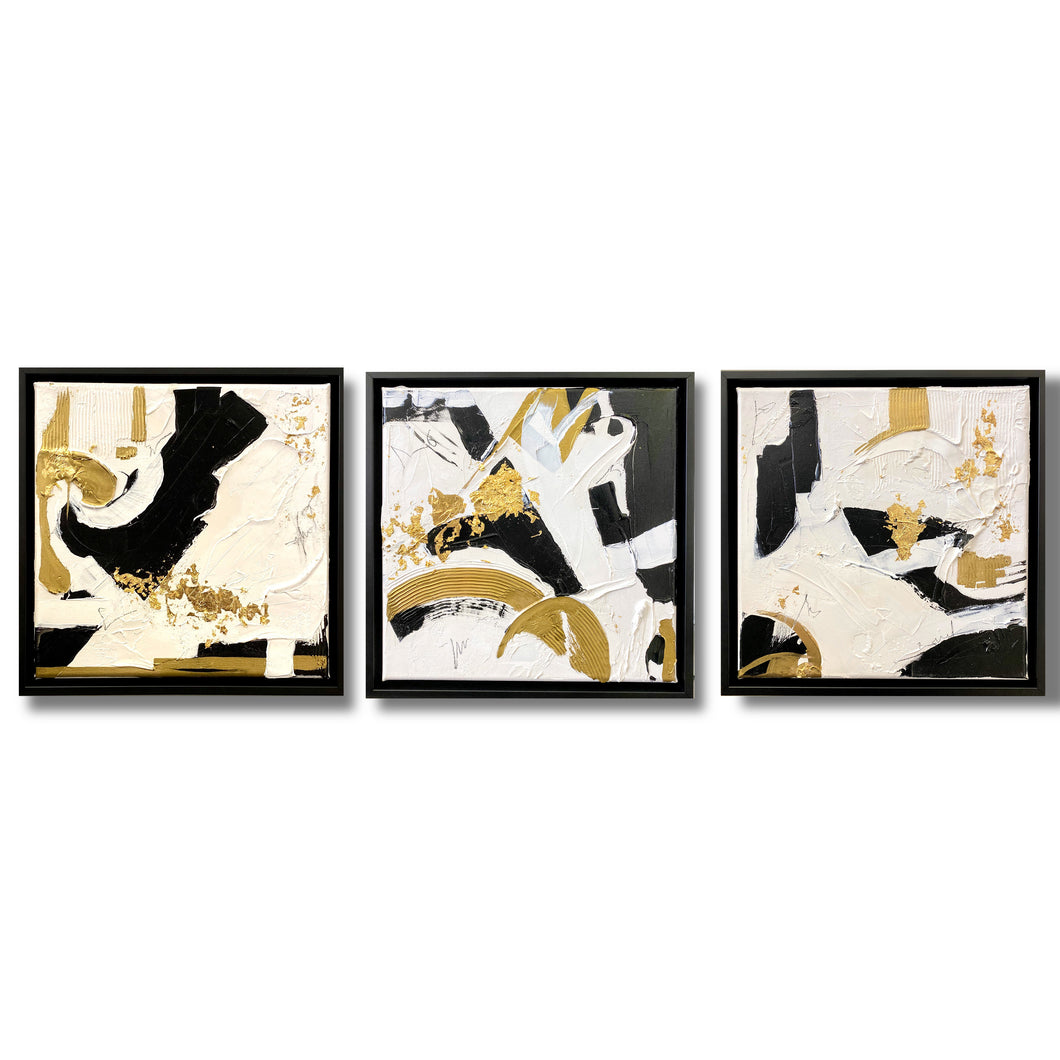 Triptych Gold/Black/White Abstracts