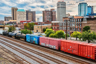 Morris Ave Skyline with Train - Photograph - Birmingham, Alabama