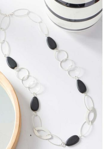 Oval & Circle Black Wood & Brushed Silver Chain Necklace