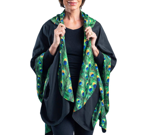 RAINCAPER BLACK & PEACOCK TRAVEL CAPE