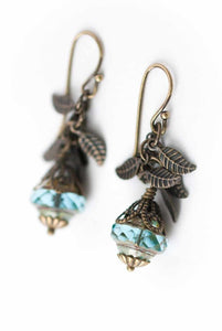 Czech Glass & Leaf Dangle Earringse