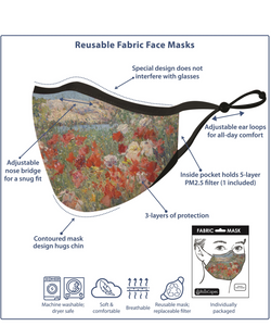 RAINCAPER VAN GOGH CARNATIONS REUSABLE FABRIC FACE MASK
